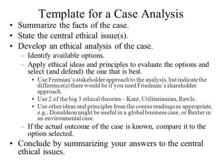 Template for a Case Analysis