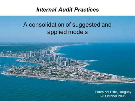 Internal Audit Practices A consolidation of suggested and applied models Punta del Este, Uruguay 28 October 2005.