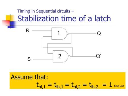 Timing in Sequential circuits – Stabilization time of a latch Assume that: t hl,1 = t lh,1 = t hl,2 = t lh,2 = 1 time unit 1 2.