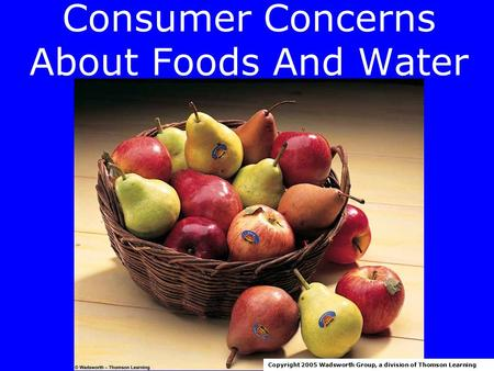 Consumer Concerns About Foods And Water Copyright 2005 Wadsworth Group, a division of Thomson Learning.