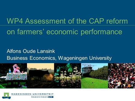 WP4 Assessment of the CAP reform on farmers' economic performance Alfons Oude Lansink Business Economics, Wageningen University.