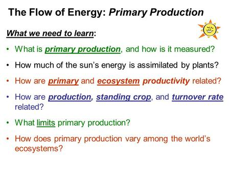 The Flow of Energy: Primary Production What we need to learn: What is primary production, and how is it measured? How much of the sun's energy is assimilated.