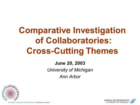 SCHOOL OF INFORMATION. UNIVERSITY OF MICHIGAN Comparative Investigation of Collaboratories: Cross-Cutting Themes June 20, 2003 University of Michigan Ann.