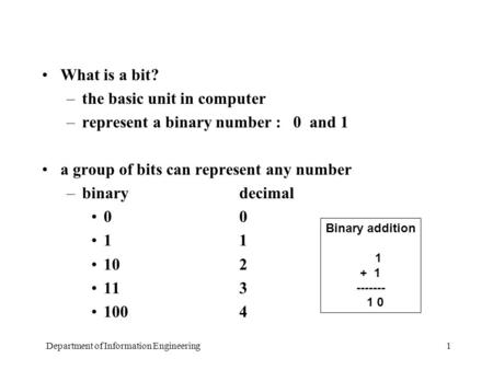 Department of Information Engineering1 What is a bit? –the basic unit in computer –represent a binary number : 0 and 1 a group of bits can represent any.
