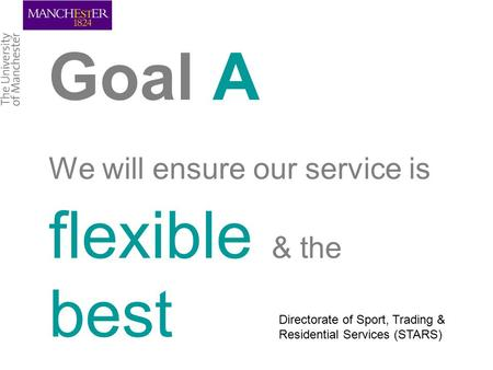 Goal A We will ensure our service is flexible & the best Directorate of Sport, Trading & Residential Services (STARS)