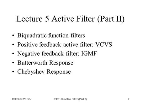 Lecture 5 Active Filter (Part II)