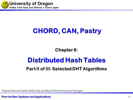 1 my chapter's name My group or university CHORD, CAN, Pastry Distributed Hash Tables CHORD, CAN, Pastry Chapter 8: Distributed Hash Tables Part II of.