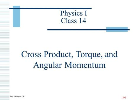 Cross Product, Torque, and