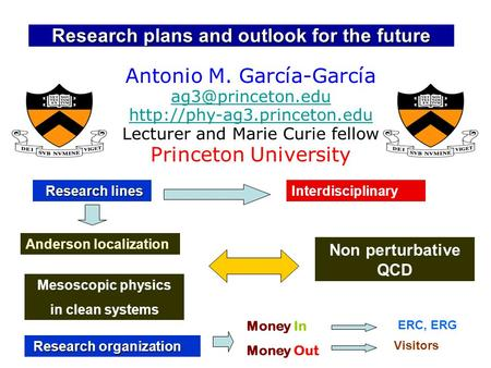 Research plans and outlook for the future Antonio M. García-García   Lecturer.