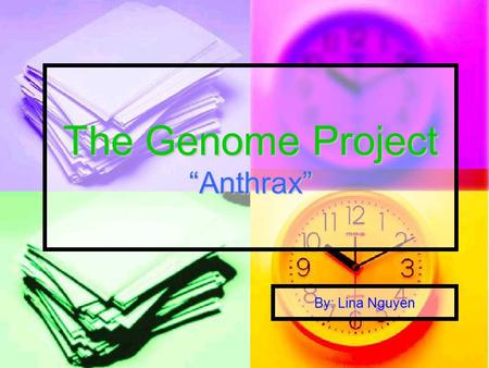 "The Genome Project ""Anthrax"" By: Lina Nguyen. Backgrounds: Anthrax is a disease Anthrax is a disease Bacillus Anthracis Bacillus Anthracis Bacteria Bacteria."