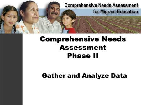 Comprehensive Needs Assessment Phase II Gather and Analyze Data Gather and Analyze Data.