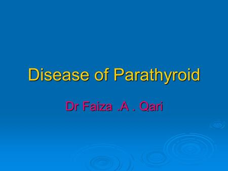 Disease of Parathyroid