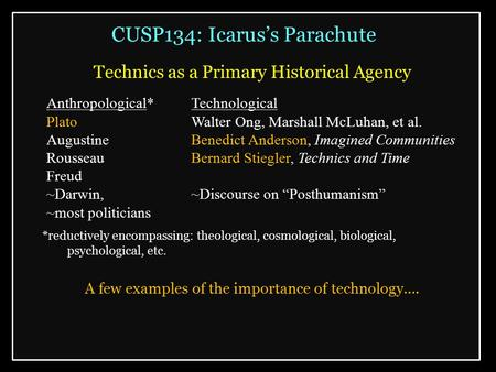 CUSP134: Icarus's Parachute Technics as a Primary Historical Agency *reductively encompassing: theological, cosmological, biological, psychological, etc.
