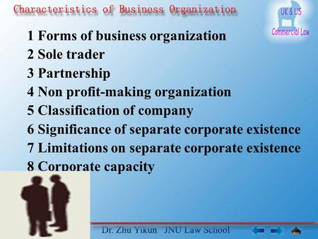 1 Forms of business organization 2 Sole trader 3 Partnership 4 Non profit-making organization 5 Classification of company 6 Significance of separate corporate.