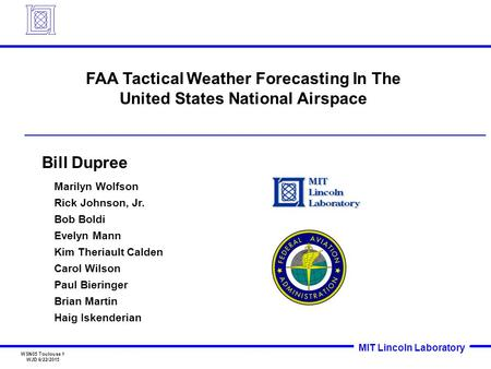 FAA Tactical Weather Forecasting In The