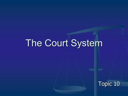 The Court System Topic 10.