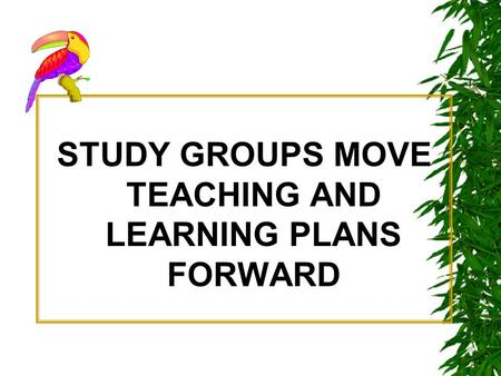STUDY GROUPS MOVE TEACHING AND LEARNING PLANS FORWARD.