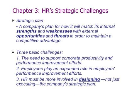 Chapter 3: HR's Strategic Challenges