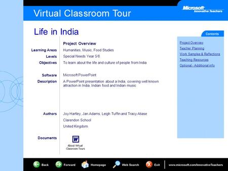 Life in India Project Overview Teacher Planning Work Samples & Reflections Teaching Resources Optional - Additional info Learning Areas Levels Objectives.