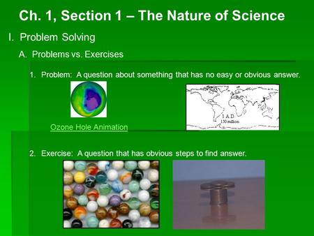 Ch. 1, Section 1 – The Nature of Science I. Problem Solving A. Problems vs. Exercises 1.Problem: A question about something that has no easy or obvious.