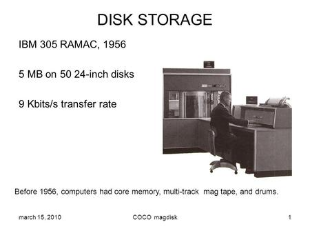 DISK STORAGE IBM 305 RAMAC, MB on inch disks