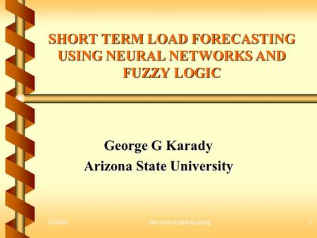 Ieee papers on short term load forecasting