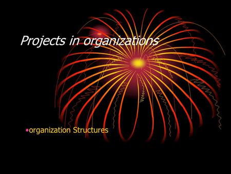 Projects in organizations organization Structures.