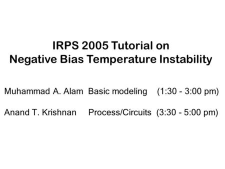 Negative Bias Temperature Instability