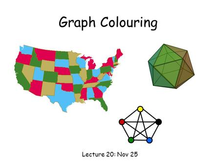 Graph Colouring Lecture 20: Nov 25. Graph Colouring Graph Colouring Problem: Given a graph, colour all the vertices so that two adjacent vertices get.
