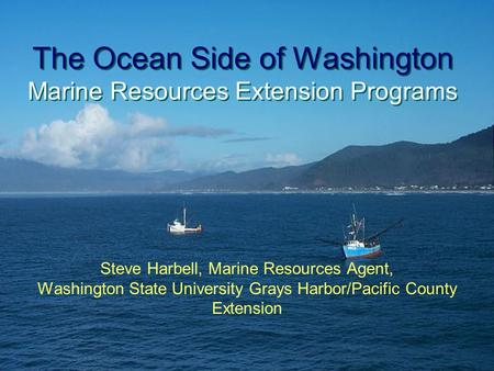 The Ocean Side of Washington Marine Resources Extension Programs Steve Harbell, Marine Resources Agent, Washington State University Grays Harbor/Pacific.