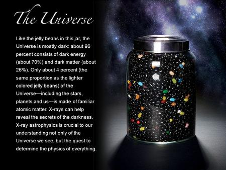 Like the jelly beans in this jar, the Universe is mostly dark: about 96 percent consists of dark energy (about 70%) and dark matter (about 26%). Only about.