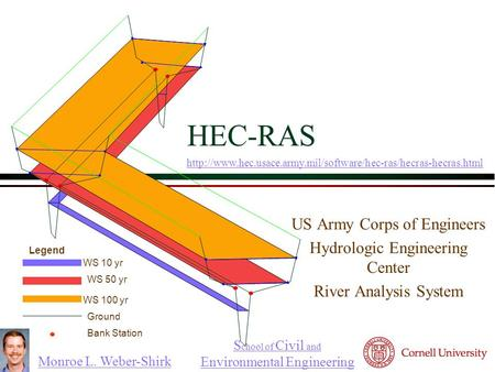 Monroe L. Weber-Shirk S chool of Civil and Environmental Engineering HEC-RAS US Army Corps of Engineers Hydrologic Engineering Center River Analysis System.