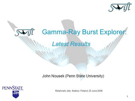1 John Nousek (Penn State University) Gamma-Ray Burst Explorer: Latest Results Relativistic Jets, Krakow, Poland, 25 June 2006.