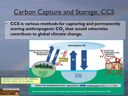 1 Carbon Capture and Storage, CCS CCS is various methods for capturing and permanently storing anthropogenic CO 2 that would otherwise contribute to global.