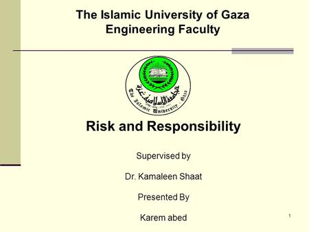 The Islamic University of Gaza Engineering Faculty