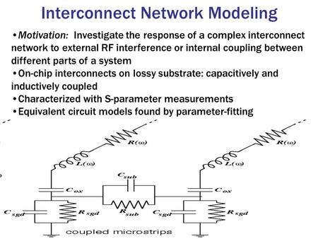 Interconnect Network Modeling Motivation: Investigate the response of a complex interconnect network to external RF interference or internal coupling between.