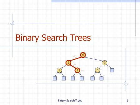 Binary Search Trees1 6 9 2 4 1 8   . 2 Ordered Dictionaries Keys are assumed to come from a total order. New operations: closestKeyBefore(k) closestElemBefore(k)