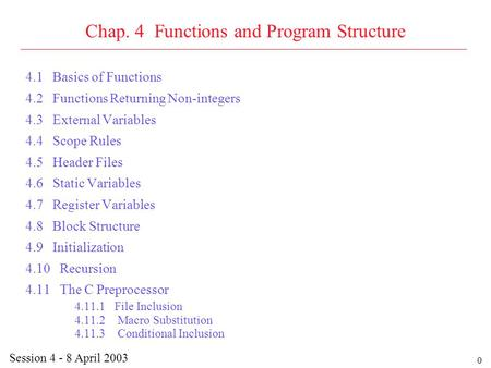 0 Chap. 4 Functions and Program Structure 4.1 Basics of Functions 4.2 Functions Returning Non-integers 4.3 External Variables 4.4 Scope Rules 4.5 Header.