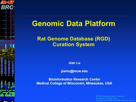 O'Reilly Bioinformatics Conference San Diego, February 2003 Genomic Data Platform: RGD Curation System 1 Genomic Data Platform Rat Genome Database (RGD)