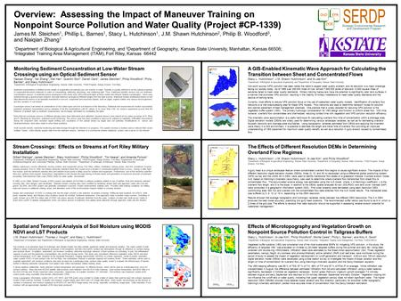 Overview: Assessing the Impact of Maneuver Training on Nonpoint Source Pollution and Water Quality (Project #CP-1339) James M. Steichen 1, Phillip L. Barnes.
