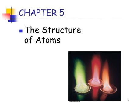 1 CHAPTER 5 The Structure of Atoms. 2 Fundamental Particles Three fundamental particles make up atoms: