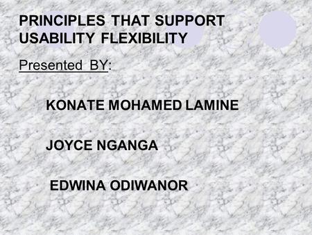 PRINCIPLES THAT SUPPORT USABILITY FLEXIBILITY Presented BY: KONATE MOHAMED LAMINE JOYCE NGANGA EDWINA ODIWANOR.