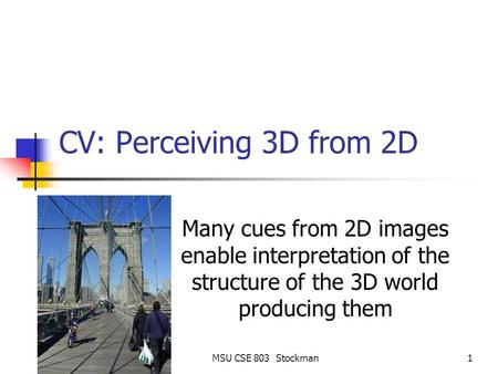 MSU CSE 803 Stockman1 CV: Perceiving 3D from 2D Many cues from 2D images enable interpretation of the structure of the 3D world producing them.
