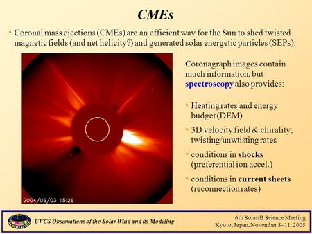 UVCS Observations of the Solar Wind and its Modeling 6th Solar-B Science Meeting Kyoto, Japan, November 8–11, 2005 CMEs Coronal mass ejections (CMEs) are.