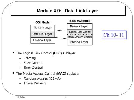 1 K. Salah Module 4.0: Data Link Layer The Logical Link Control (LLC) sublayer –Framing –Flow Control –Error Control The Media Access Control (MAC) sublayer.