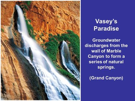 Vasey's Paradise Groundwater discharges from the wall of Marble Canyon to form a series of natural springs. (Grand Canyon)