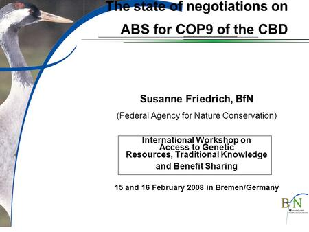 The state of negotiations on ABS for COP9 of the CBD Susanne Friedrich, BfN (Federal Agency for Nature Conservation) International Workshop on Access to.