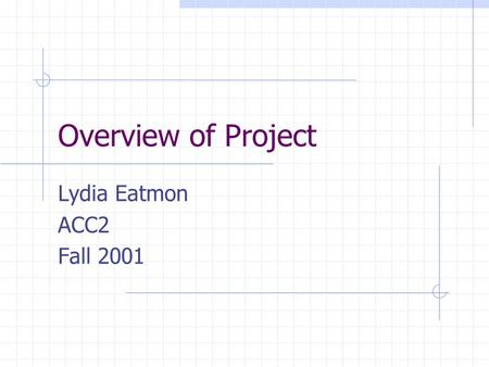 Overview of Project Lydia Eatmon ACC2 Fall 2001. Project Adaptive Cruise Control Diver aid, part cruise control, part collision avoidance Motivation for.