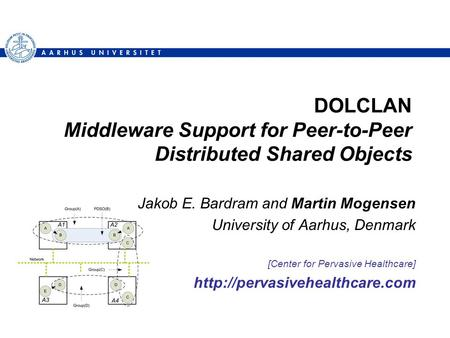 DOLCLAN Middleware Support for Peer-to-Peer Distributed Shared Objects Jakob E. Bardram and Martin Mogensen University of Aarhus, Denmark [Center for Pervasive.