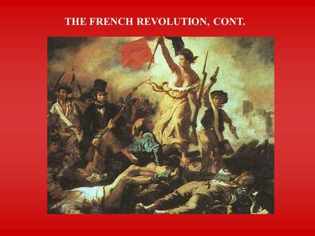 THE FRENCH REVOLUTION, CONT.. THE REVOLUTION ADVANCES  National Assembly voted to curtail King's power  King called in troops  Women staged protest.